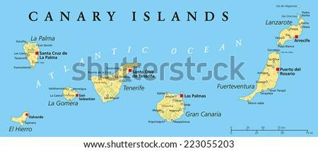Canary Islands Political Map Lanzarote Fuerteventura Stock Vector