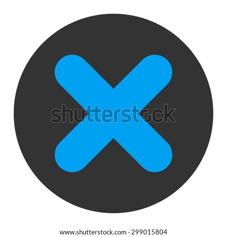 Cancel icon from Primitive Round Buttons OverColor Set. This round flat button is drawn with blue and gray colors on a white background. - stock vector