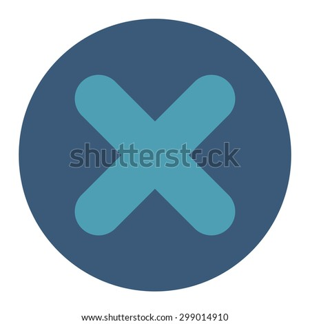 Cancel icon from Primitive Round Buttons OverColor Set. This round flat button is drawn with cyan and blue colors on a white background. - stock vector