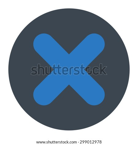 Cancel icon from Primitive Round Buttons OverColor Set. This round flat button is drawn with smooth blue colors on a white background. - stock vector