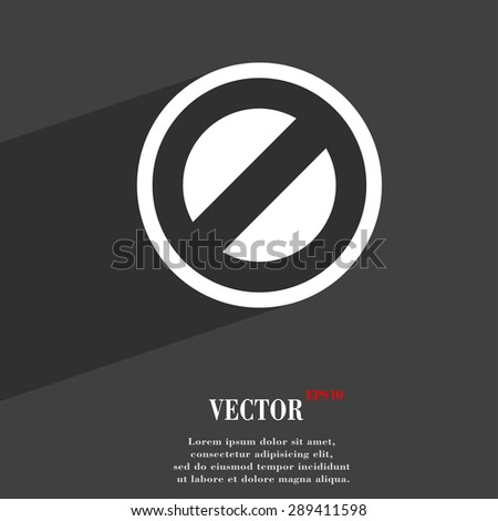 Cancel icon symbol Flat modern web design with long shadow and space for your text. Vector illustration - stock vector