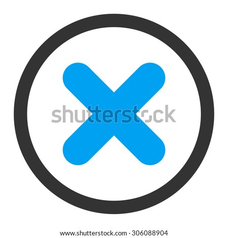 Cancel vector icon. This rounded flat symbol is drawn with blue and gray colors on a white background. - stock vector