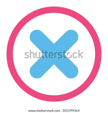 Cancel vector icon. This rounded flat symbol is drawn with pink and blue colors on a white background. - stock vector