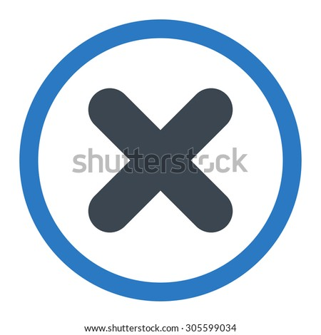 Cancel vector icon. This rounded flat symbol is drawn with smooth blue colors on a white background. - stock vector