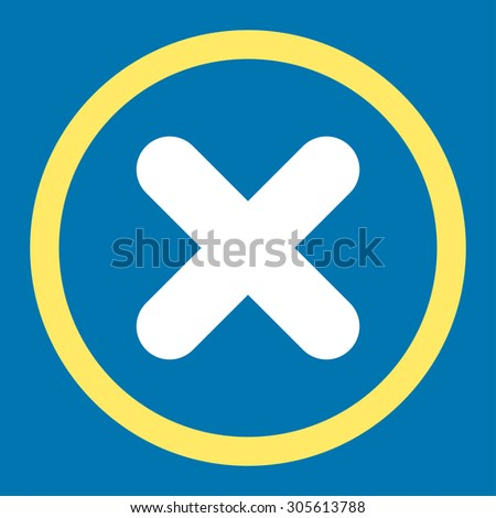 Cancel vector icon. This rounded flat symbol is drawn with yellow and white colors on a blue background. - stock vector