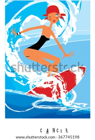 Cancer horoscope sign as surfer girl catching big wave. Woman horoscope. Summer children surf camp. Surf camp.  - stock vector