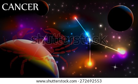 Cancer - Space Scene with Astrological Sign and copy space