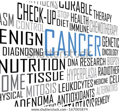 Cancer tag cloud perspective vector artwork  - stock vector