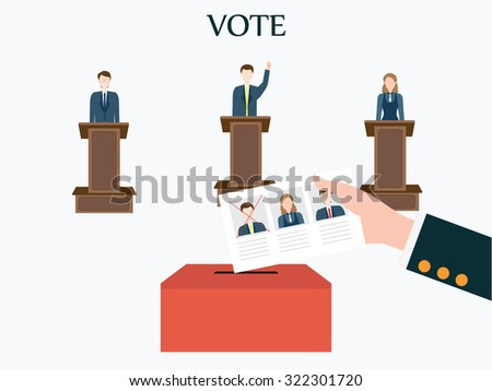 Candidates standing at the podium.Voting concept, Vote ballot with box, Vector illustration, flat design. - stock vector