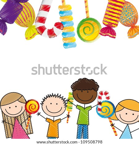 candies and children over white background. vector illustration - stock vector