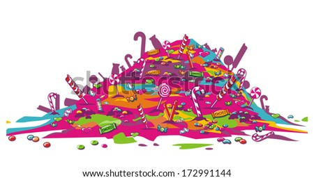 Candies pile - stock vector