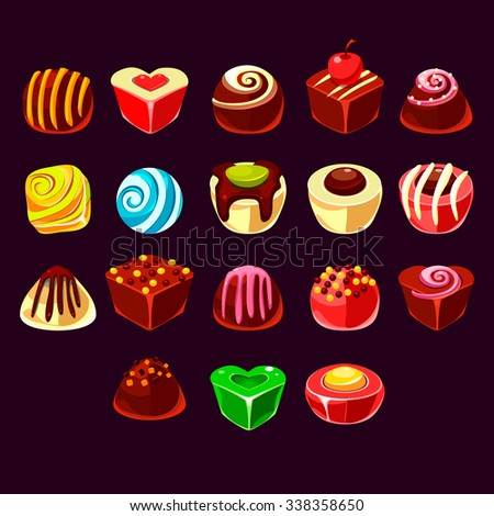 Candies vector set, cute sweet game elements - stock vector