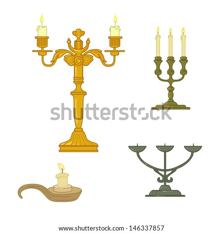 Candle and old  classical candelabrum