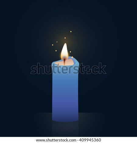 Candle burning, blue colored. Vector Illustration on dark background.