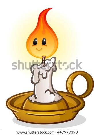 Candle Burning Cartoon Character - stock vector