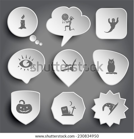 candle, ethnic little man as shaman, ghost, eye, bats, owl, pumpkin, rip, astrologer's hat. White vector buttons on gray. - stock vector