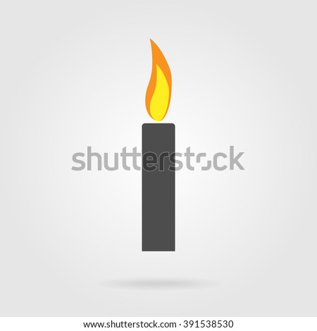 Candle flat icon. Monochrome candle with color, contrast, bright flame. Vector illustration for your design