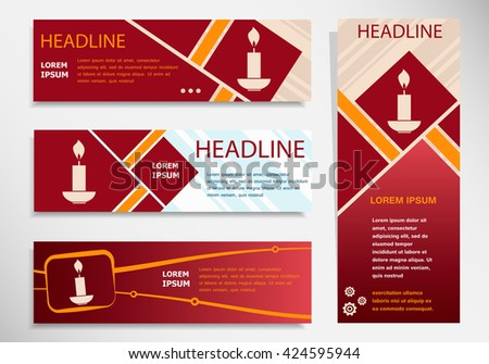 Candle icon on vector website headers, business success concept. Modern abstract flyer, banner - stock vector