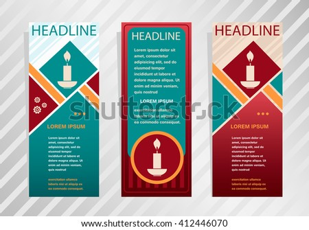Candle icon on vertical banner. Modern abstract flyer, banner, brochure design template.  - stock vector