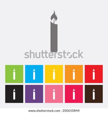 Candle icon - Vector - stock vector