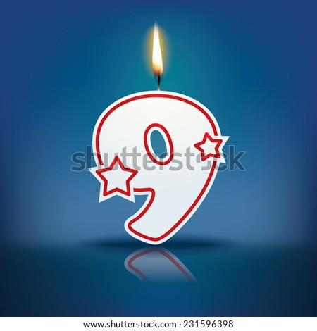 Candle number 9 with flame - eps 10 vector illustration - stock vector