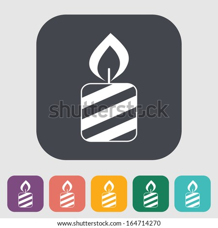 Candle. Single flat icon on the button. Vector illustration. - stock vector