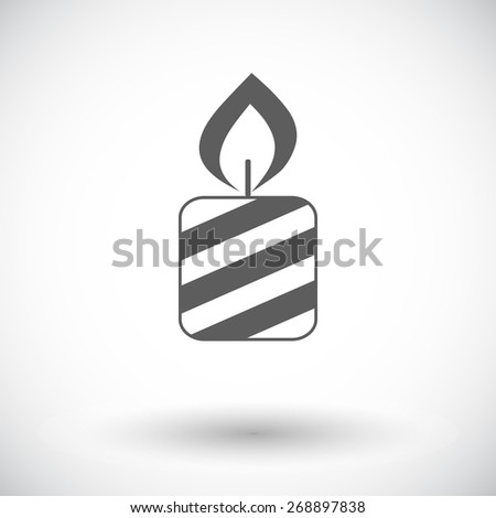 Candle. Single flat icon on white background. Vector illustration. - stock vector
