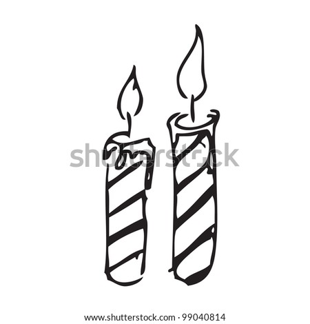 Candle vector doodle - stock vector