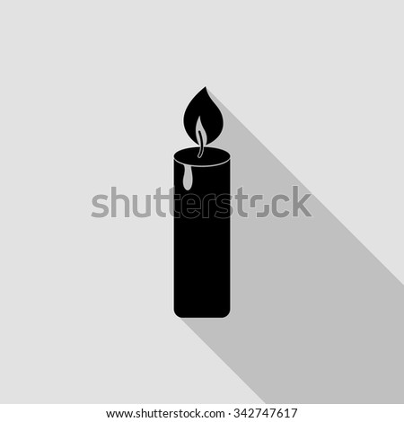 candle vector icon with long shadow