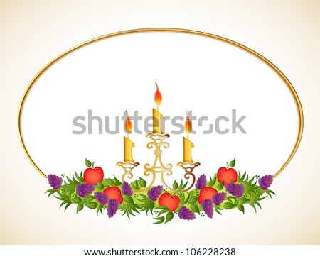 Candle With fruits. Vector frame - stock vector