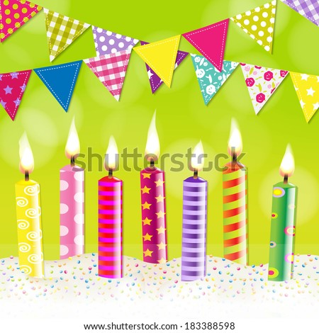 Candles Bunting Garland, With Gradient Mesh, Vector Illustration - stock vector