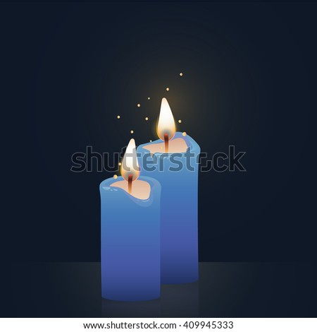 Candles burning, blue colored. Vector Illustration on dark background.