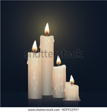 Candles burning, melting, white colored. Vector Illustration on dark background.