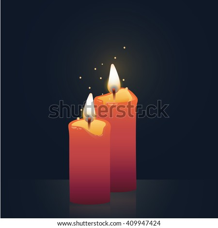 Candles burning, red colored. Vector Illustration on dark background.