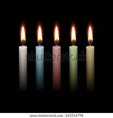 Candles Flame Fire Light Isolated on Black Background. Realistic Vector Illustration Multicolored White Blue Red Green Yellow Set