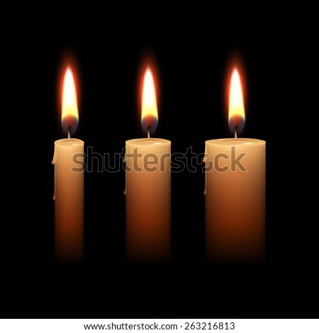 Candles Flame Fire Light Isolated on Black Background. Realistic Vector Illustration Set
