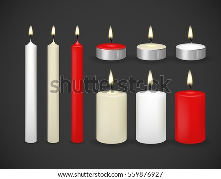 Candles flame realistic set isolated on dark background vector 3d illustration