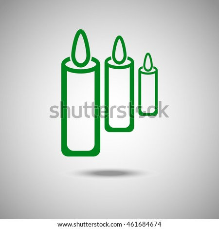Candles icon. Flat style. Grey background. Vector illustration.