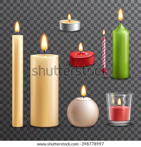 Candles realistic 3d set isolated on transparent background vector illustration - stock vector