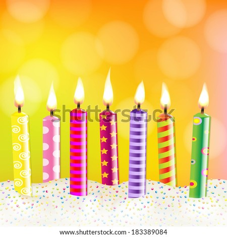 Candles With Bokeh, With Gradient Mesh, Vector Illustration