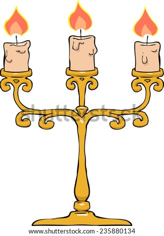 Candlestick on a white background vector illustration - stock vector