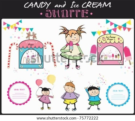 Candy and Ice cream Store set. - stock vector