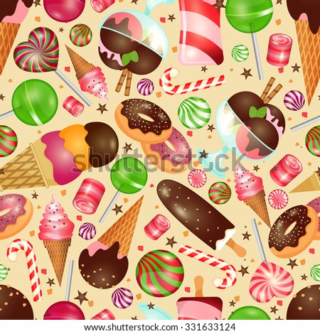 Candy and sweets seamless background for invitations to Christmas and birthday