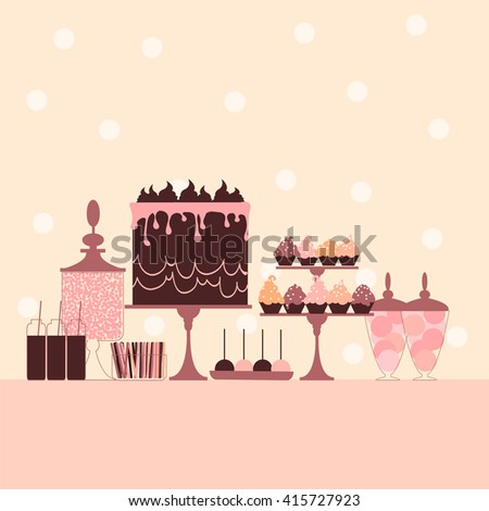 Candy buffet with cake and cupcakes. Dessert bar. Pink sweet table. Vector illustration.