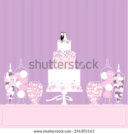 Candy buffet with  wedding cake. Wedding dessert bar. Vector illustration