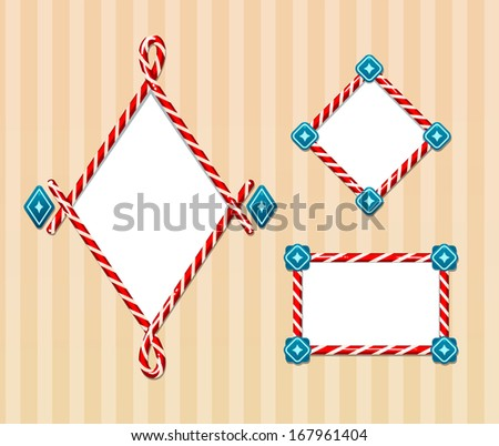 candy cane borders set 2 - stock vector
