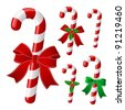 Candy cane collection with ribbon and holly . Vector - stock vector