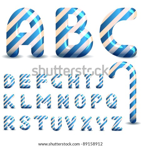 Candy cane font of blue color - stock vector