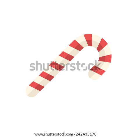 Candy cane icon (flat design) - stock vector