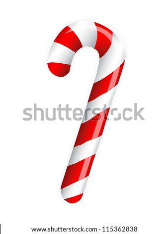 Candy cane isolated on white - stock vector
